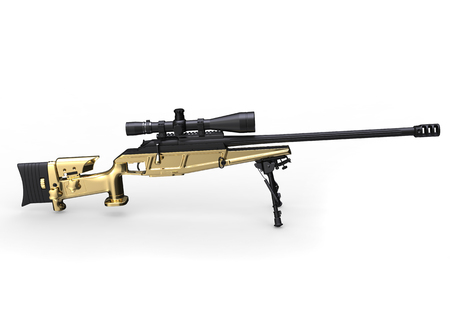 Golden modern sniper rifle