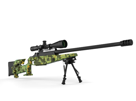 Beautiful sniper rifle with green camo paint - beauty shot