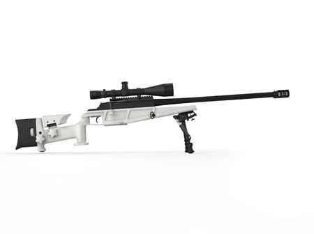 Modern white sniper rifle - side view