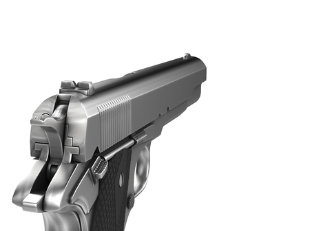 Silver vintage semi automatic gun - first person left hand view Stock Photo