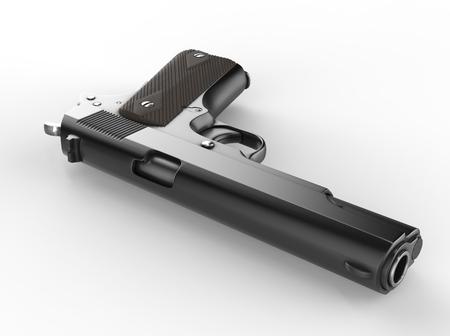 Vintage semi automatic pistol -  on the ground - barrel closeup