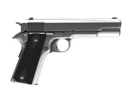 Silver vintage semi automatic gun - side view