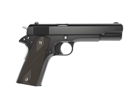 Vintage semi automatic gun - side view
