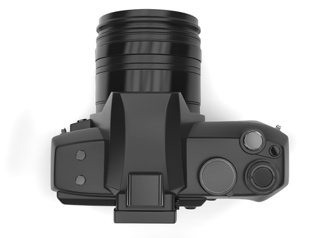 Modern black photo camera - top down view