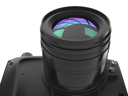 Modern black photo camera - low angle lens closeup shot