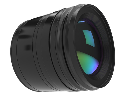 Modern generic black photo camera lens - closeup shot