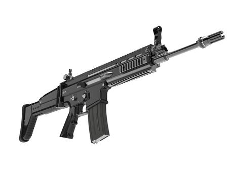 Night ops modern assault rifle - low angle shot