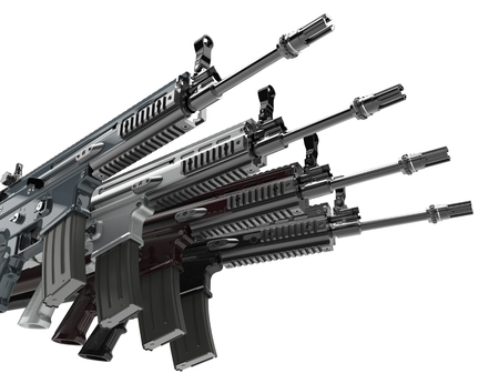Modern army assault rifles stacked together