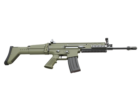 Army green modern assault rifle - top down side view 스톡 콘텐츠