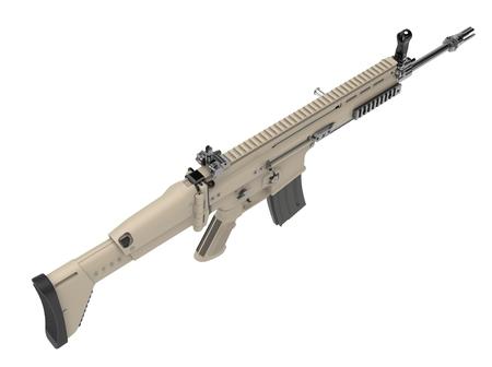 Desert colour army assault rifle - top down view