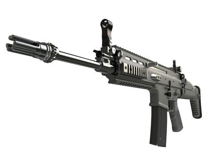 Army green modern assault rifle - barrel closeup shot Stock Photo
