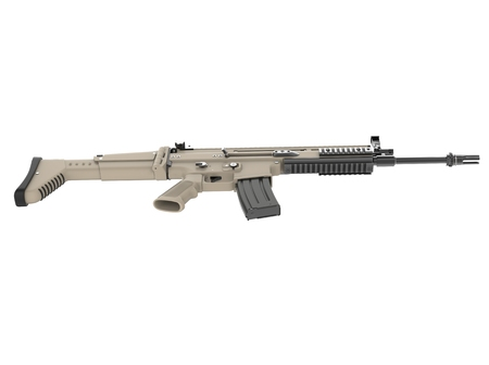 Desert colour army assault rifle - top down side view