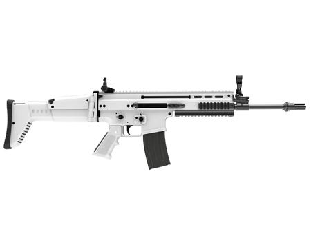 White winter modern assault rifle - side view