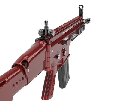 Metallic red modern assault rifle Stock Photo