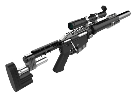 Modern black sniper rifle with silencer - top down view