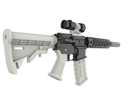 Modern assault rifles with white details - beauty shot 版權商用圖片