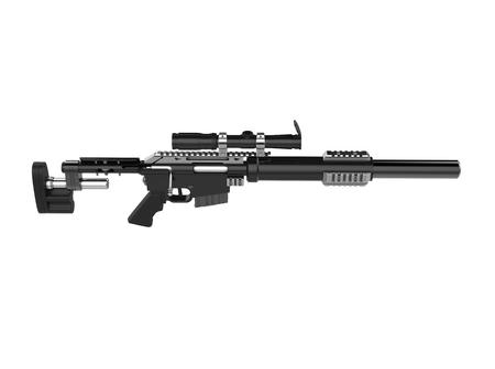Modern black sniper rifle - top down view