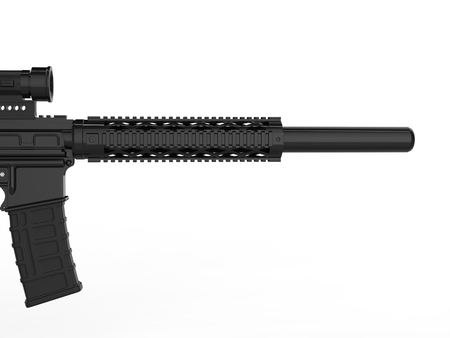 Modern army assault rifle with silencer - closeup on the barrel - side view Stock Photo