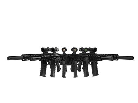 Modern assault rifles in a semi circle
