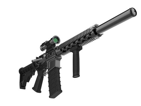 Modern army assault rifle - low angle shot