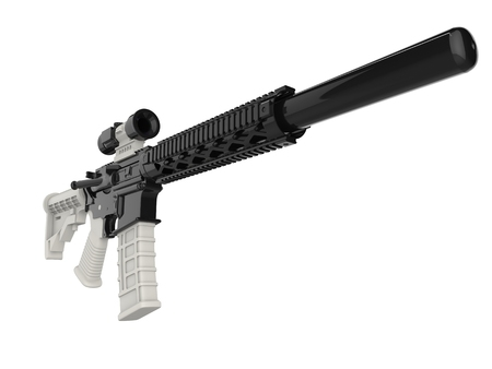 Modern assault rifles with white details Stock Photo