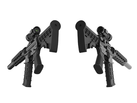 Two modern assault rifles - back view - low angle shot