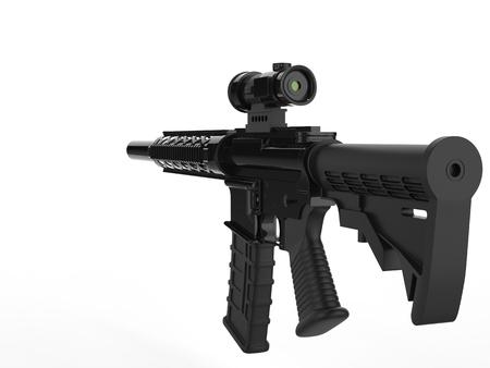Modern army assault rifle - back view Stock Photo