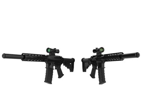Two modern assault rifles - beauty shot Stock Photo