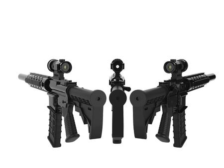 Black modern army assault rifles - back view Stock Photo