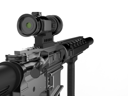 Modern army assault rifle - first person view