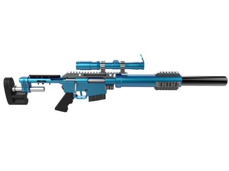 Metallic sky blue modern sniper rifle - top down view