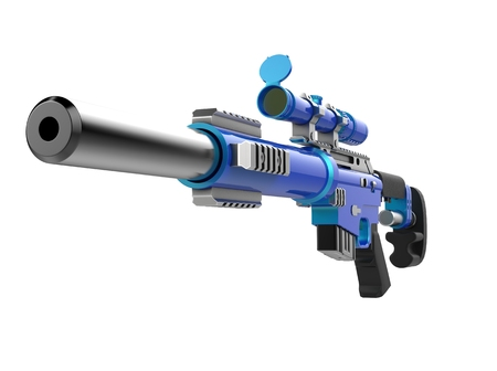 Metallic blue modern sniper rifle with silencer