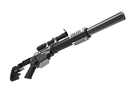 Modern black sniper rifle with silencer