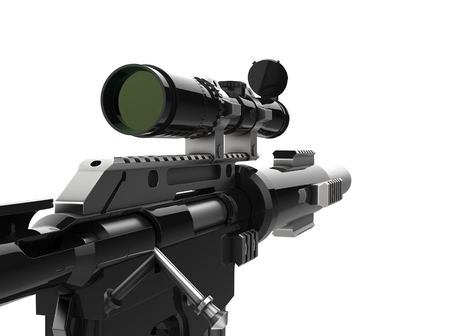 Modern black sniper rifle - first person view
