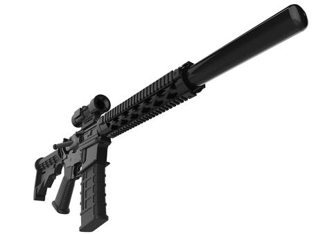 Full black modern assault rifles