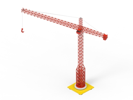 Red construction tower crane - low poly - back view 写真素材