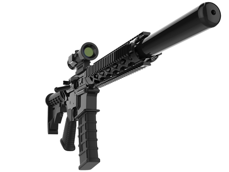 Modern army assault rifle with silencer - closeup shot