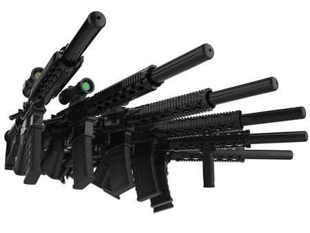 Black modern assault rifles stacked together