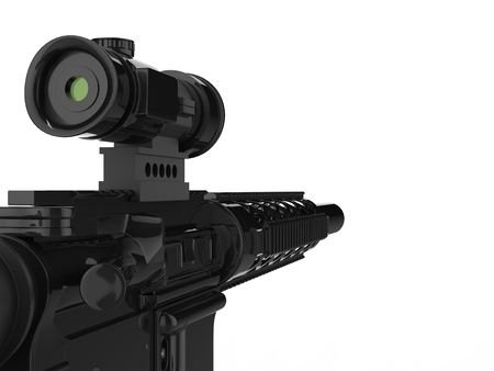 Modern army assault rifle with optical sight - extreme closeup shot 版權商用圖片