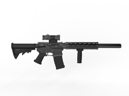 Modern army assault rifle - top side view