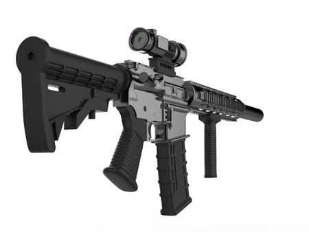 Modern army assault rifle - low angle shot back view