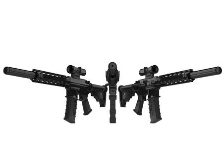 Black modern army assault rifles Stock Photo