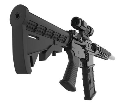 Full black modern assault rifles - back view closeup shot Stock Photo