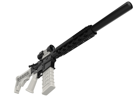 Modern assault rifles with white details - low angle shot