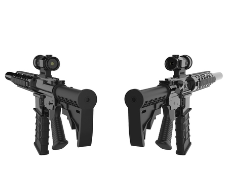 Two modern assault rifles - back view
