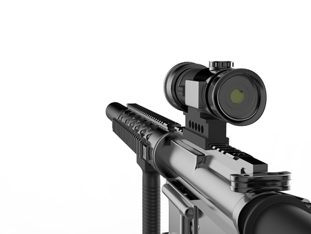Modern army assault rifle - first person view - right side