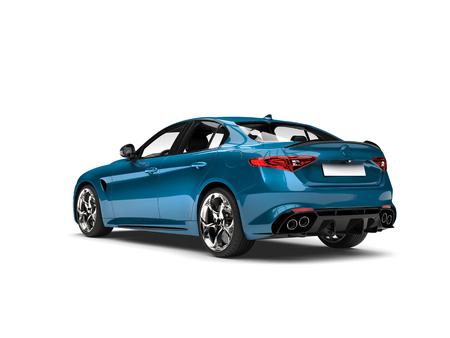 Metallic cerulean blue modern fast car - tail view Stock Photo