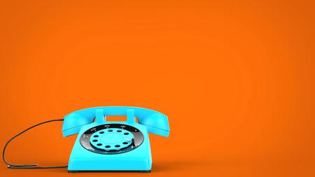 Sky blue vintage telephone Stock Photo