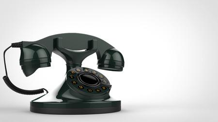 Retro green vintage telephone Stock Photo