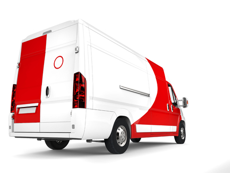 Big white delivery van with red details - back closeup shot Stock Photo